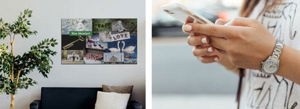 vision board hanging on wall with mobile vision board on cell phone